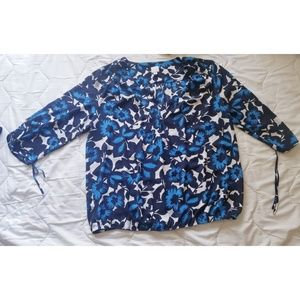 Soho blue floral v neck blouse